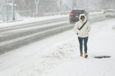A pedestrian braves the wintry