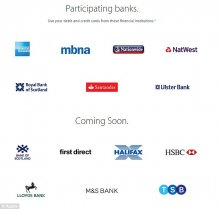 At launch, seven of the major British banks and credit cards support Apple Pay, including American Express, MBNA, Santander, Nationwide, NatWest, Royal Bank of Scotland and Ulster Bank. Bank of Scotland, First Direct, Halifax, HSBC, Lloyds Bank, M&S Bank and TSB are expected to launch in September