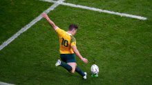 Bernard Foley of Australia kicks at goal.