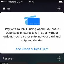 Customers in the UK can now use Apple Pay to buy goods and services in high-street stores with a simple wave of their phone or watch. iPhone owners must have the latest version of the iOS software 8.4 to use the service. Card details can then be added in Apple's Passbook app (pictured)
