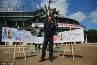 England 2003 World Cup-winning captain, Martin Johnson stands in front of the coveted ticket's designs